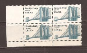 U.S.#2041 Brooklyn Bridge 20c Plate Block of 4, MNH.