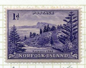 NORFOLK ISLAND;  1947 early issue fine Mint hinged 1d. value