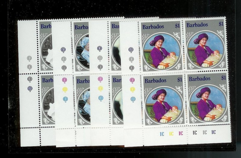 BARBADOS Sc#660-663 Complete Mint Never Hinged PLATE BLOCK Set