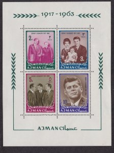 Ajman # 26 (footnote) John F. Kennedy, Souvenir Sheet,  NH, 1/2 Cat.