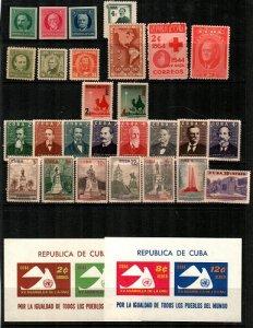 Cuba Scott 280 // 669a Mint NH mostly sets and S/S (Catalog Value $65.65)