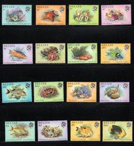 Belize SC699-714 Fish:CushionStar-FairyBasslets-FlowerCoral etc.SetOf16 MNH 1984