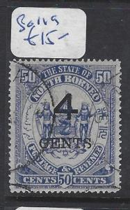 NORTH BORNEO (P3012BB)  4C/50C ARMS, LION SG 119  VFU