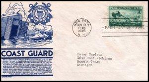 US 936 Merchant Marine C Anderson Blue Typed FDC
