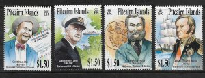 PITCAIRN ISLANDS,553-556, MNH, FAMOUS MEN