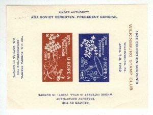 1962 SATIRE SOUVENIR SHEET CInderella Wilkinsburg Stamp Club EUROPA U-ROPE-A