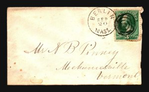 US 1870s Cover / Berlin Mass CDS - Z18645