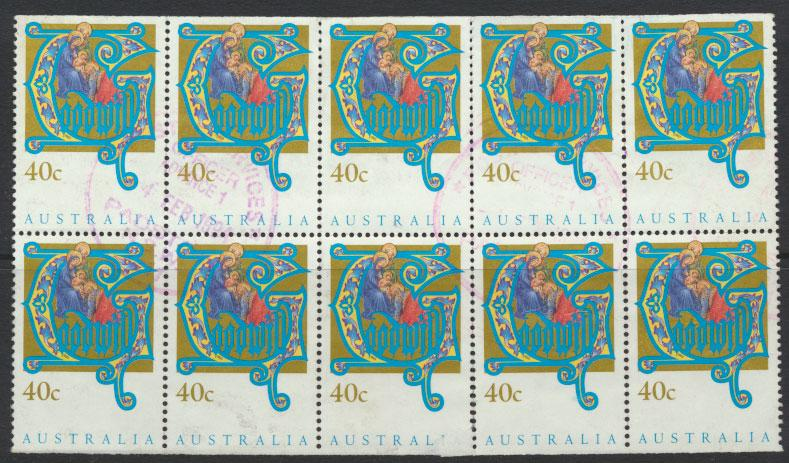 Australia SG 1432a block half booklet sheet - Used - Christmas