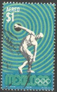 MEXICO C341, $1Peso 1968 Olympics, Mexico City. USED. VF.(712)