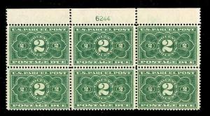 momen: US Stamps #JQ2 Mint OG Plate Block of 6 F/VF