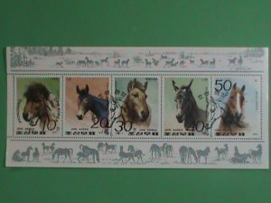 KOREA STAMP: 1991- COLORFUL LOVELY HORSES - CTO- NH S/S SHEET-   VERY RARE AND H