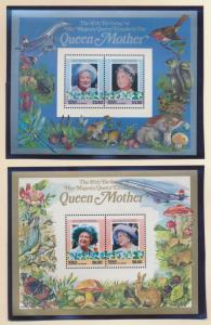 Bequia (St Vincent Grenadines) Stamps 211-2, Queen Mother Souvenir Sheets - F...