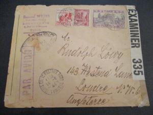 1944 Tunis Tunisia to London England Judaica Censorship WWII Airmail Cover