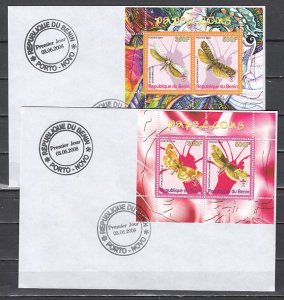 Benin, 2008 Cinderella issue. Butterflies & Moths on 2 first day covers. ^