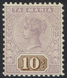 TASMANIA 1906 QV TABLET 10/- WMK CROWN/A PERF 12.5