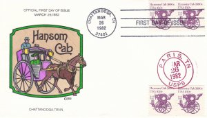 COLLINS HAND PAINTED FDC Sc# 1904 Transportation Hasom Cab 1982 First Day Issue