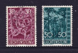 Liechtenstein the 30 & 50r used from 1960 (trees & bushes)