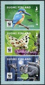 Finland Europa Stamps 2021 MNH Endangered Natl Wildlife Kingfishers Birds 3v S/A