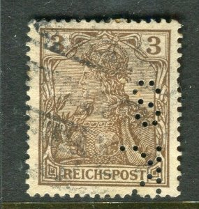 GERMANY; Early 1900s Germania issue fine used value + PERFIN , 3pf.
