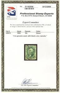 15 Used,  XF, 10c. Washington, PF & PSE Cert; scv: $180