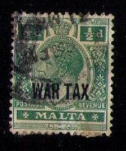 MALTA Sc MR1 Used 1918 KGV 1/2d WAR TAX Issue  F-VF