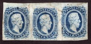 CSA Sc 11 Blue 10¢ Strip of 3 Hinged Lrg Part Gum