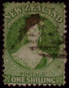 NEW ZEALAND 1864 Chalon 1/- perf 12½ used SG125............................41712