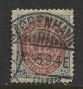Denmark - Scott 29 - Definitive Issue -1875 - Used - Single 12s Stamp