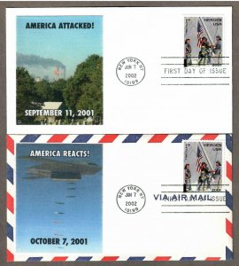 US # B2 - Remember September 11 , 2001 - on 2 Lakestamps FDCs - I Combine S/H