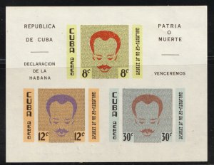 1961 Cuba Stamps Jose Marti and Declaration of Havana  SS