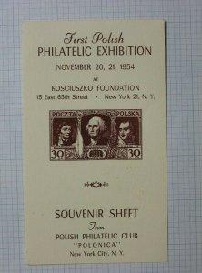 Polonia Koscivszko Polish Expo 1954 1932 30gr 271 276 Philatelic Souvenir Ad