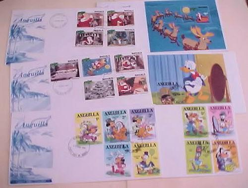 ST. KITTS  ANGUILLA  FDC DISNEY 6 DIFF. INCLUDES 2 SHEETLETS CACHET UNADDRESSED