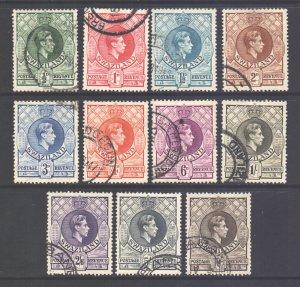 Swaziland Scott 27/37 - SG28/38, 1938 George VI Set used