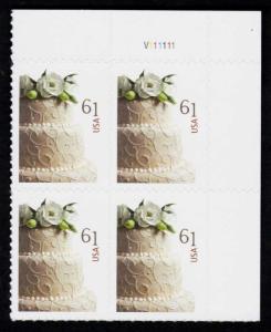 US #4398 Wedding Cake P# Block of 4; MNH (5.00)