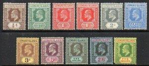 Leeward Islands: 1907 KEVII set with addn. 1d shade (10+1) SG 36-45 + 38a mint