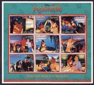 Guyana-SC#2987-sheet of 9-Disney-Pocahontas-unused-NH-