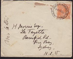 AUSTRALIA 1920 2d GV on cover OUTER HARBOUR / STH AUSTRALIA cds...........68566