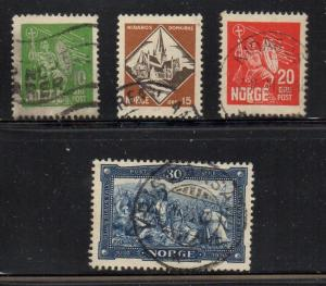 Norway Sc 150-3 1930 death of Olaf Haraldson stamp set used
