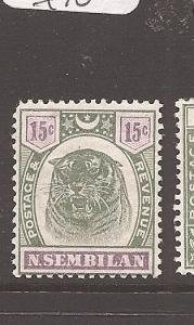 Malaya Negri Sembilan 1895 15c Tiger SG 13 MOG (6ath)