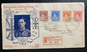1937 Nauru Island First Day Cover FDC Coronation King George VI Stamps