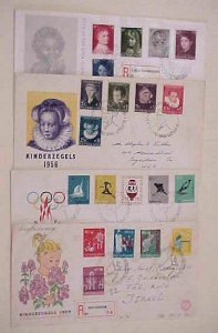 NETHERLANDS FDC  4 DIFF. 1956-1959 #678-82,685-9,707-11,739-43  cat.$105.00