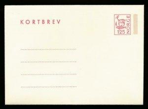 NORWAY Mi. K40 POSTAL STATIONERY LETTER CARD 125o