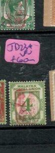 MALAYA JAPANESE OCCUPATION MPU (PP1301B) POSTAGE DUE 4C  SGJD23  VFU