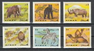 Ajman, Mi cat. 412-417 A. African Wild Animals issue. *