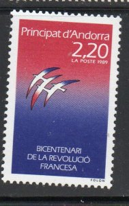 Andorra (Fr) Sc 370 1989 French Revolution stamp  mint NH