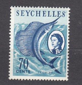 J28187 1962-9 seychelles part of set mh #206 sailfish
