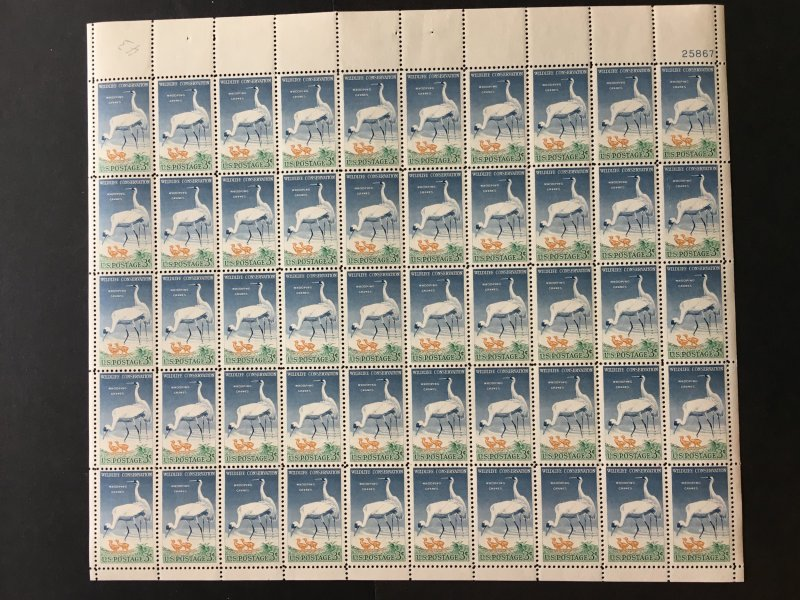 1957 sheet Wildlife Conservation - Whooping Cranes Sc # 1098
