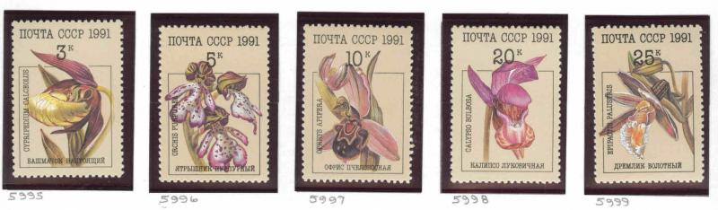 Russia Scott 5994-5998 MNH** 1991 Flower set