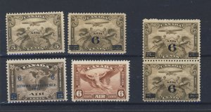 6x Canada MNH Airmail  stamps #C1 3x C3-C4-C5 All MNH Guide Value= $105.00