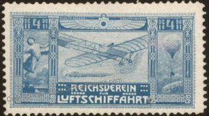 Germany Empire Reichsverein Luftschiffahrt Air Power Donation Stamp G102839